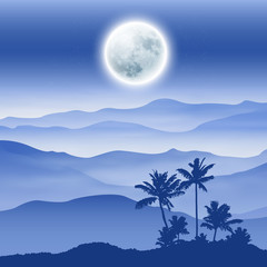 Background with fullmoon, palm tree and mountains in the fog