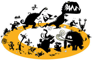 Running animal silhouettes in cycle.