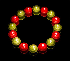 Many candles on circle, reflected