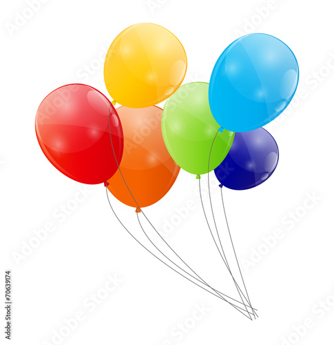 Color Glossy Balloons Background Vector Illustration - 70639174