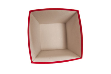 Overhead View of Empty Red Gift Box