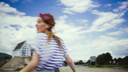 Girl having a good time spinning