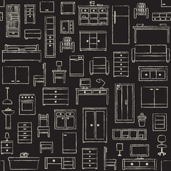 Vector seamless pattern with hand drawn furniture elements