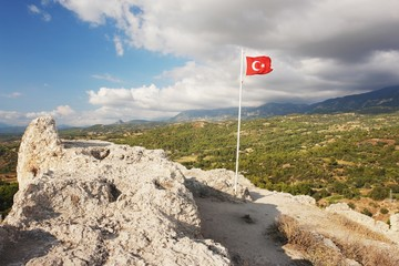Tlos, view the Turkish flag on the Roman fort, Turkey