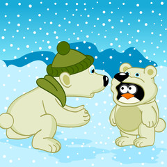 polar bear penguin dressed as bear  -  vector illustration, eps