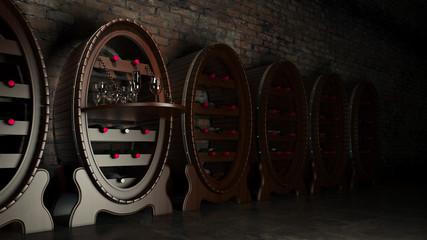Wine cellar full of wine bottles