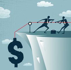 Abstract Businessman Cliff Top Teamwork saves Dollars.