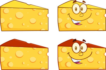 Wedge Of Cheese Cartoon Illustration. Collection Set