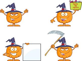 Pumpkin Cartoon Mascot Character Series 5. Collection Set