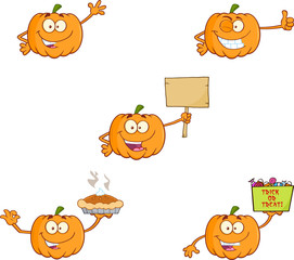Pumpkin Cartoon Mascot Character Series 6. Collection Set