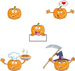 Pumpkin Cartoon Mascot Character Series 7. Collection Set