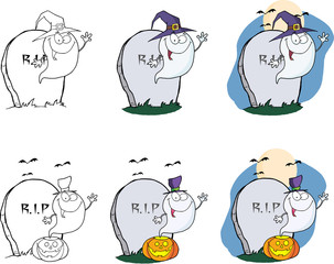 Spooky Ghost Cartoon Mascot Character Series 2. Collection Set