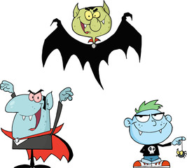 Vampires Cartoon Mascot Character Series 1. Collection Set