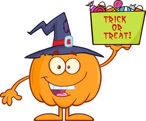 Halloween Pumpkin With A Witch Hat Holds A Box With Candy