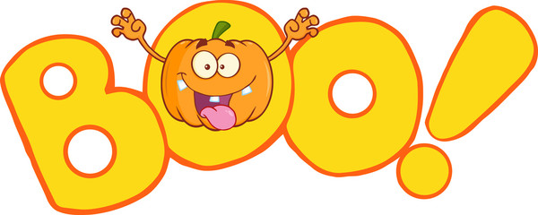 Boo Text With Scaring Halloween Pumpkin Cartoon Mascot Character
