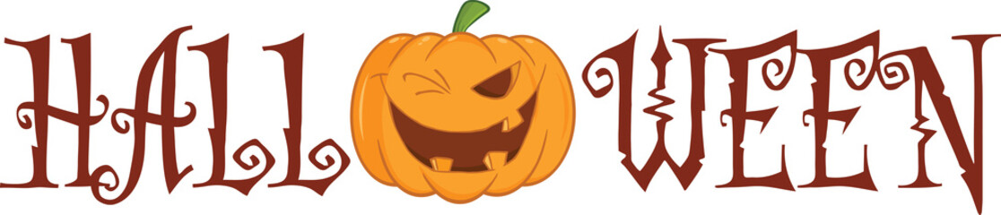 Halloween Text With Pumpkin Winking Cartoon Character