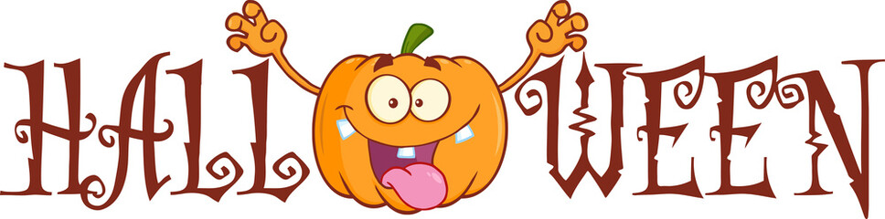 Halloween Text With Scaring Pumpkin Cartoon Character