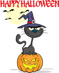 Halloween Black Cat With A Witch Hat On Pumpkin And Text