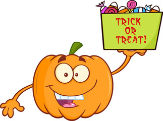 Smiling Pumpkin Character Holds A Box With Candy And Text