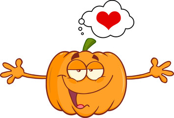 Pumpkin Character With Open Arms For Hugging And Speech Bubble