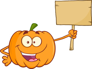 Funny Pumpkin Cartoon Mascot Character Holding A Wooden Board