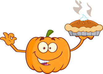 Smiling Pumpkin Cartoon Mascot Character Holding Perfect Pie