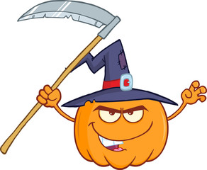 Scaring Halloween Pumpkin With A Witch Hat And Scythe Character