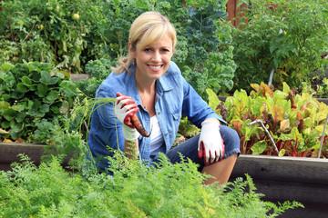 Woman vegetable garden