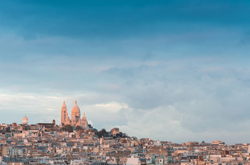 Montmartre, Paris. Aerial view with Sacred Heart Basilica at the