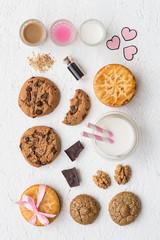 Assorted Cookies and Milk