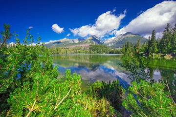 View to Strbske pleso in High Tatras during summer, Slovakia