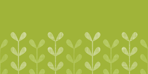 Abstract textile green vines leaves horizontal seamless pattern