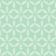 Abstract textile mint green leaves geometric seamless pattern