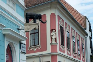 Facade of old building in Sopron