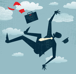 Abstract Businessman in Freefall