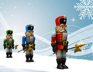 Nutcracker on Christmas background.