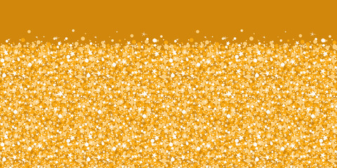 Vector golden shiny glitter texture horizontal border seamless