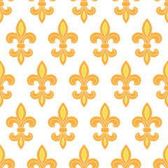 Golden lily seamless pattern background
