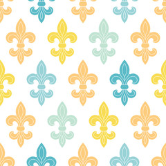 God and blue lily seamless pattern background