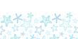 Starfish blue line art horizontal seamless pattern background