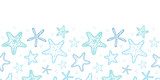 Starfish blue line art horizontal seamless pattern background