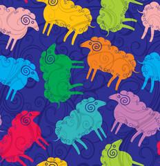 Seamless pattern colored sheep.