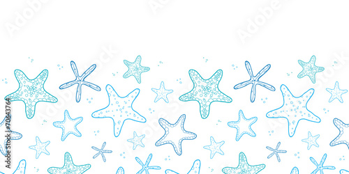 Starfish blue line art horizontal seamless pattern background - 70643764
