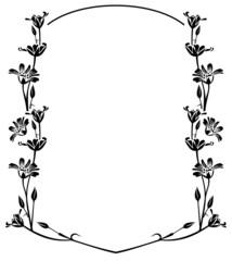 floral outline round frame