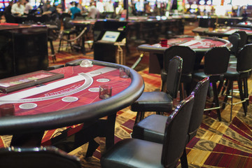 Row Casino Gaming Tables in Las Vegas Casino Hotel's Hall