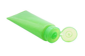 green plastic tube with opened  flip top lid  for cosmetic