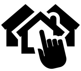 Hand clicking on house icon
