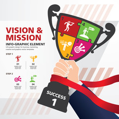 info graphic Template with Businessman holding a champion trophy