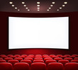 Cinema with white screen and seats. Vector. - 70646105