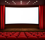 Fototapeta Cinema with white screen, curtain and seats. Vector.